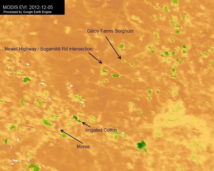 MODIS EVI captured on 2012-12-05. Showing area north of Moree NSW Australia. Google Earth Engine used to display image.