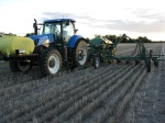 Air seeder attached applying urea