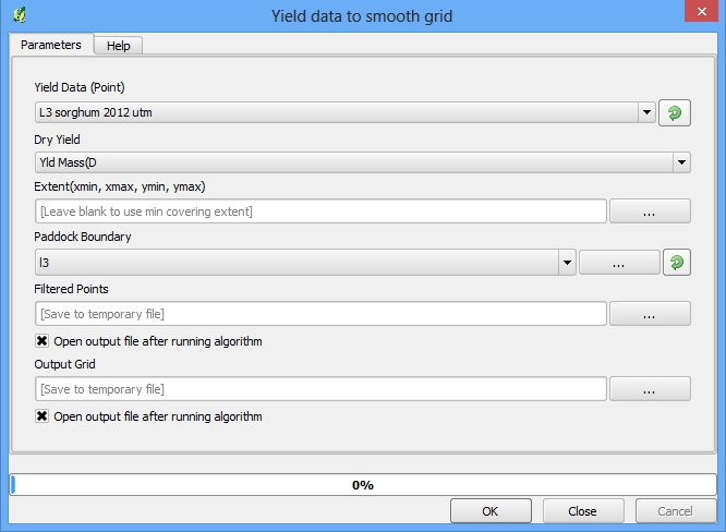 Select yield data point file to be processed and choose output location. The modeler does the rest!