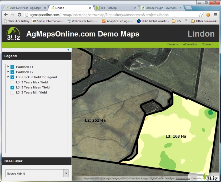 Lizmap Web Client displaying Lindon property map.