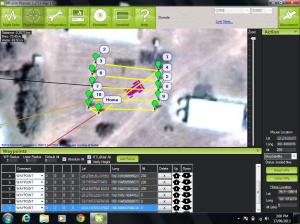 The rover's path can be set inside the Mission Planner software.
